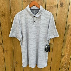 Mens Nike Dri-Fit Light Gray Golf Polo Shirt